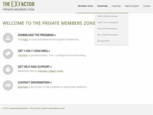 The Ex Factor Guide Private Members Zone