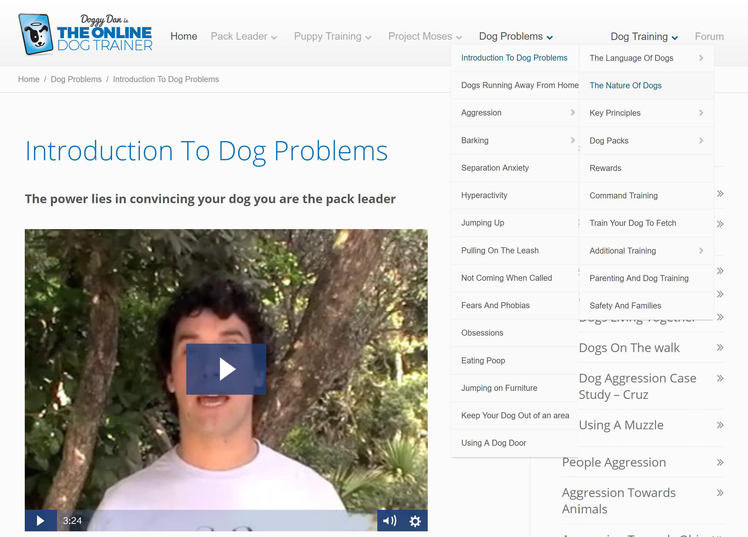 The Online Dog Trainer: Dog Problems and Dog Training Section