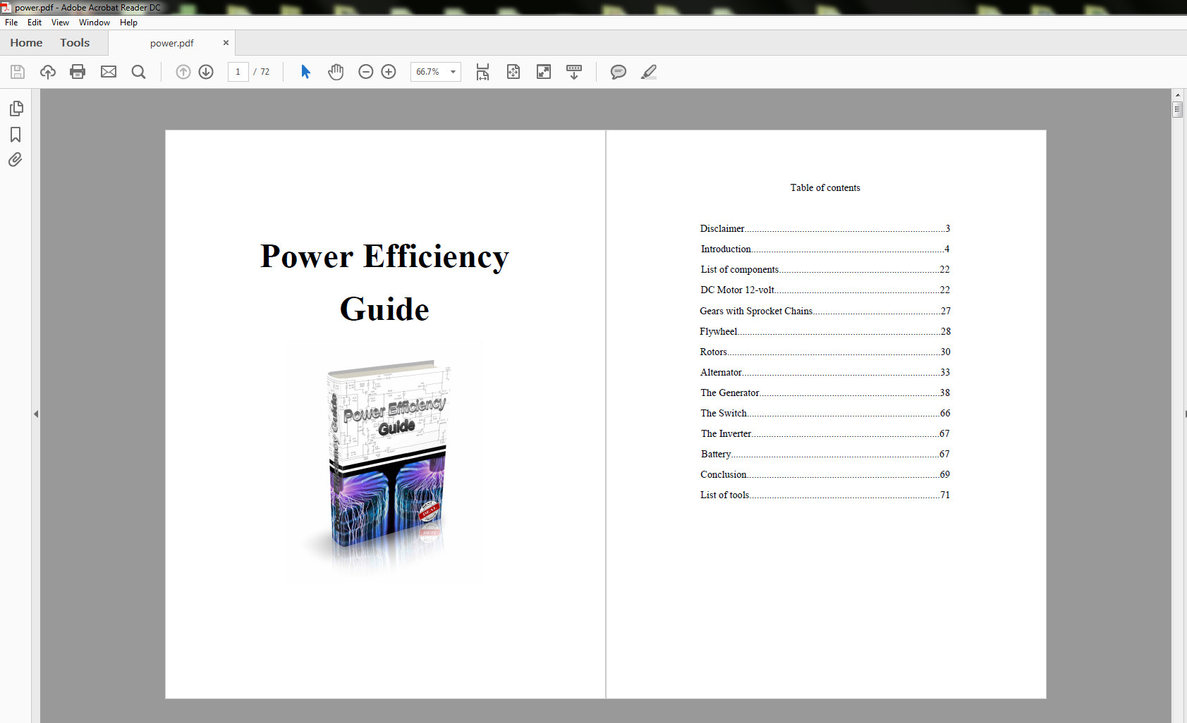 power efficiency guide table of contents