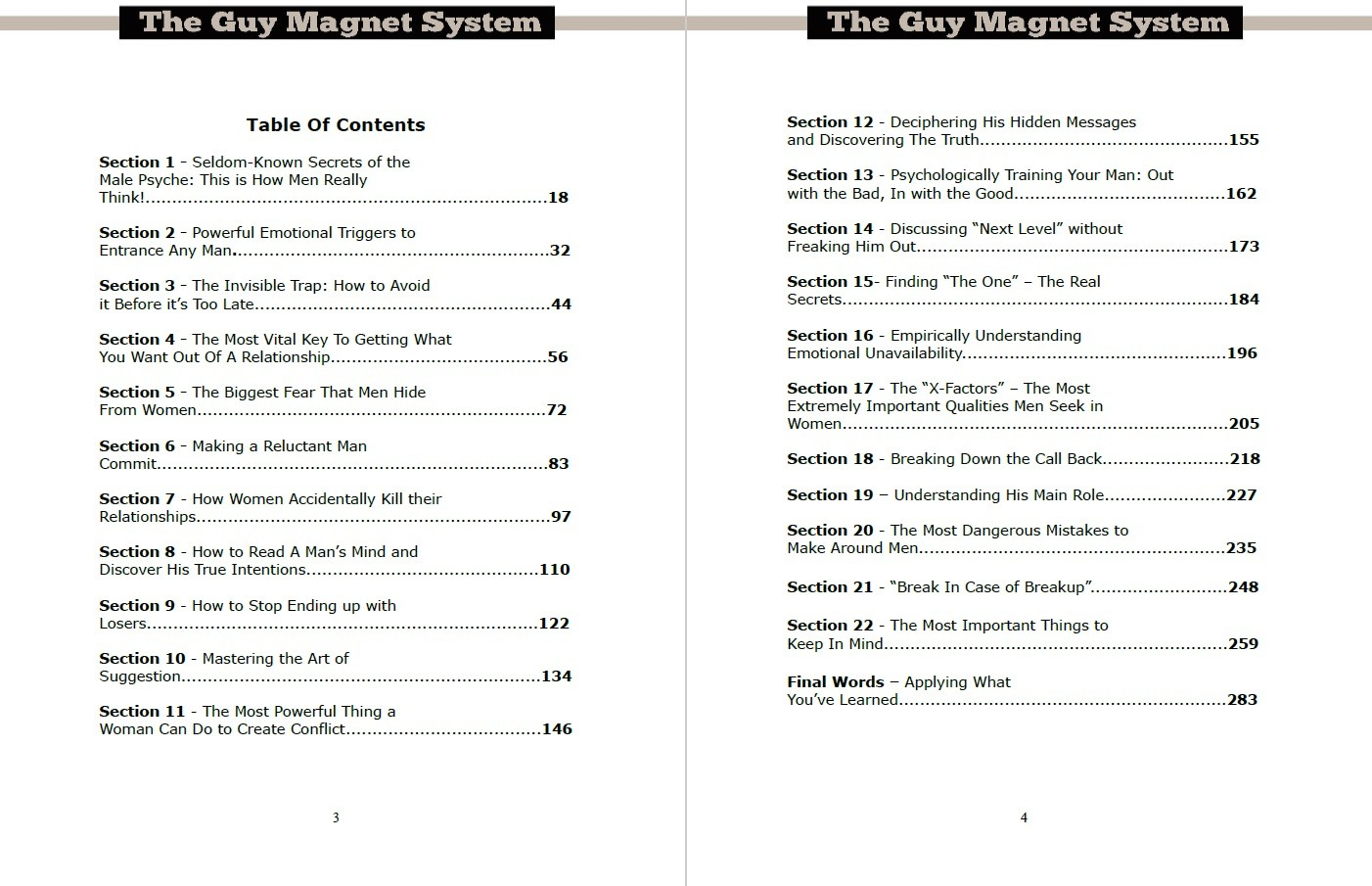 The Guy Magnet System Part 1 - Table of Contents