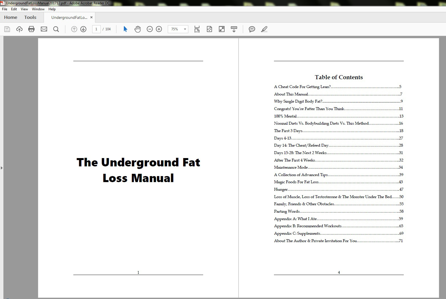 The Underground Fat Loss Manual Table of Contents